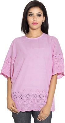 Simplona beau Casual Short Sleeve Self Design Women's Pink Top