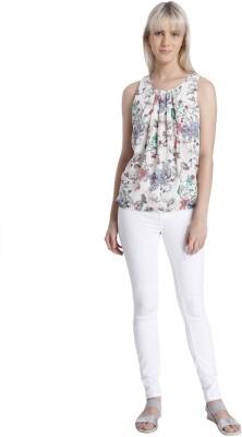 Vero Moda Casual Sleeveless Floral Print Women's White Top