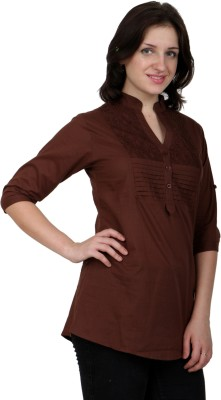 Shopaholic Casual 3/4 Sleeve Solid Women's Brown Top
