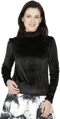Svt Ada Collections Formal Full Sleeve Solid Women's Black Top