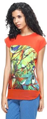 HANGNHOLD Casual Short Sleeve Printed Women's Orange Top