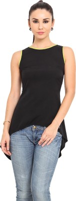 MSMB Casual Sleeveless Solid Women's Black, Yellow Top