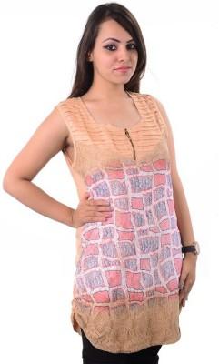 Shivi's Designer Studio Casual Sleeveless Printed Women's Beige Top