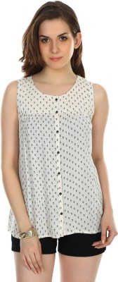 Colors Couture Casual Sleeveless Printed Women's White Top
