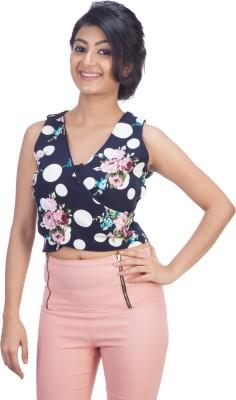 TrendBAE Casual Sleeveless Floral Print Women's Dark Blue Top