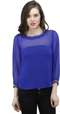Osumfab Casual Full Sleeve Solid Women's Blue Top