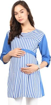 Mine4Nine Casual Roll-up Sleeve Striped Women's Blue Top