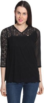 Sienna Casual 3/4 Sleeve Solid Women's Black Top