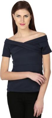 Dessara Formal Short Sleeve Solid Women's Blue Top