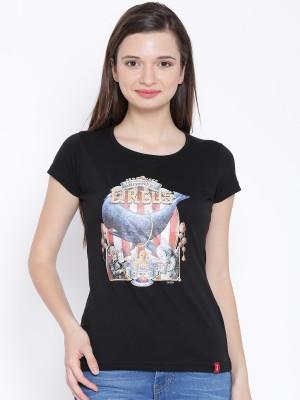Oner Casual Short Sleeve Printed Women's Black Top