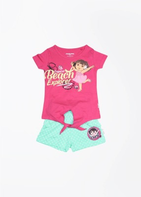 Dora Casual Short Sleeve Graphic Print Girl's Pink Top