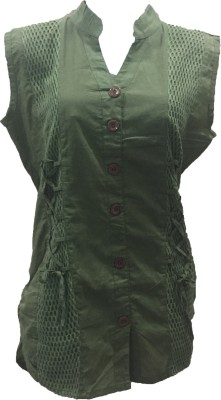 Dovekie Casual Sleeveless Self Design Women's Green Top