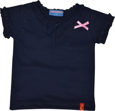 Clever Casual Short Sleeve Solid Girl's Dark Blue Top