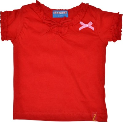 Clever Casual Short Sleeve Solid Girl's Red Top
