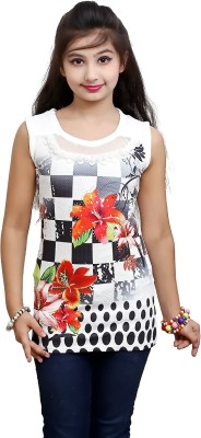 Blinkin Casual Sleeveless Floral Print Girl's Multicolor, Black Top
