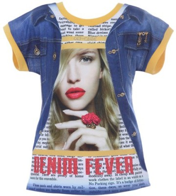 LEI CHIE Casual Short Sleeve Printed Girl's Yellow Top