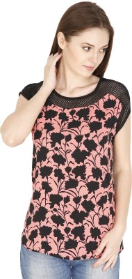 FASHMODE Casual Short Sleeve Floral Print Women's Pink Top