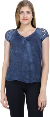 Bainy Casual Short Sleeve Solid Women,s Blue Top