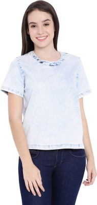 Blue Saint Casual Short Sleeve Solid Women's Blue Top