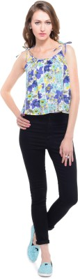 A Luv Ya Casual Noodle strap Floral Print Women's White, Green Top