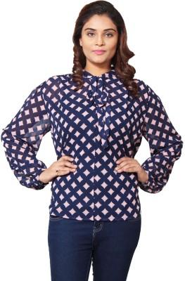 Prakum Casual Full Sleeve Printed Women,s Blue, Pink Top