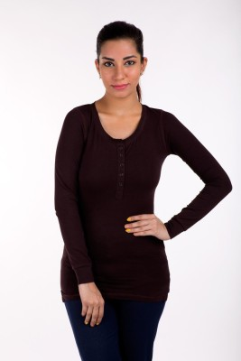 De Moza Casual Full Sleeve Solid Women's Brown Top