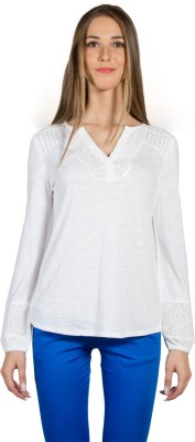 My Addiction Casual Full Sleeve Solid Women's White Top