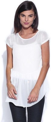 Dressberry Casual Short Sleeve Solid Women's White Top at flipkart