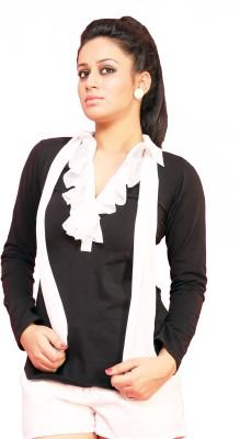 Schwof Casual Full Sleeve Solid Women's Black, White Top
