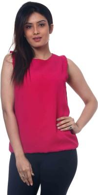 Lynda Casual Puff Sleeve Solid Women's Pink Top