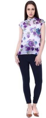 pinaki perryhills Casual Cap sleeve Floral Print Girl's Multicolor Top
