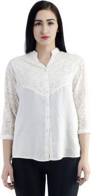 Zurick Casual 3/4 Sleeve Embroidered Women's White Top