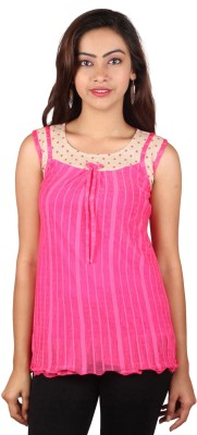 PurpleYou Casual Sleeveless Printed Women's Pink Top