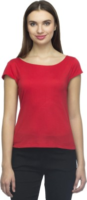Bantry Casual Short Sleeve Solid Women's Red Top