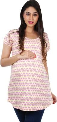 Kriti Western Maternity Casual Short Sleeve Printed Women's Pink Top