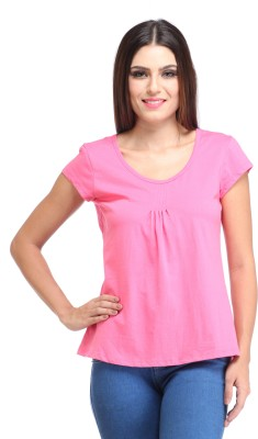 Amirich Casual Short Sleeve Solid Women's Pink Top