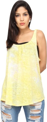 Americanlaundry Casual Sleeveless Solid Women's Yellow Top