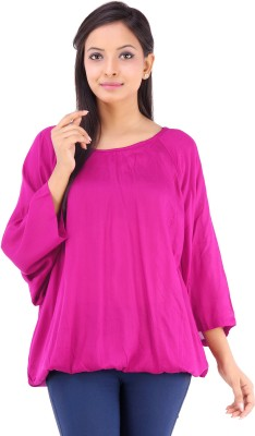 Inblue Fashions Casual 3/4 Sleeve Solid Women's Pink Top