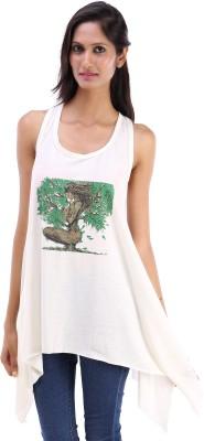 Koma Store Casual Sleeveless Printed Women's White Top