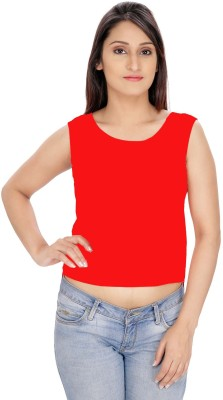 Franclo Party Sleeveless Self Design Women's Red Top