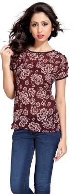 Eighteen4ever Casual Short Sleeve Floral Print Women's Brown Top