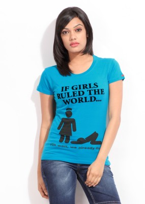 Comedy Central Casual Short Sleeve Printed Women's Blue Top