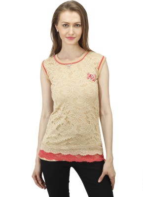 Time Expert Casual Sleeveless Printed Women's Beige Top