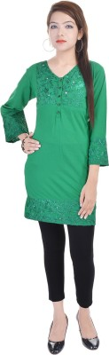 Fantasy Ika Casual 3/4 Sleeve Solid Women's Green Top