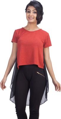 TrendBAE Party Short Sleeve Solid Women's Orange, Black Top