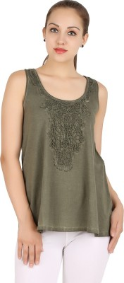 MA Casual Sleeveless Solid Women's Light Green Top