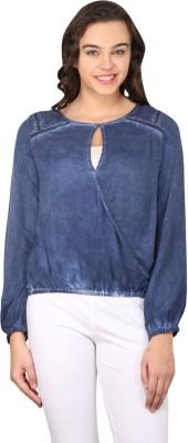 Nordic Bazaar Casual Full Sleeve Solid Women's Blue Top
