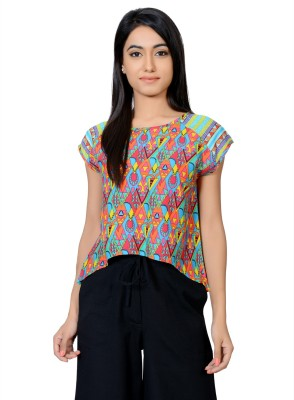 Juniper Casual Short Sleeve Printed Women's Pink Top