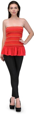 Maxi Fashion Casual Sleeveless Solid Girl's Red Top