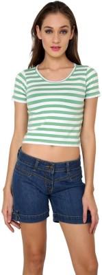 99Hunts Casual Short Sleeve Striped Women's Green Top